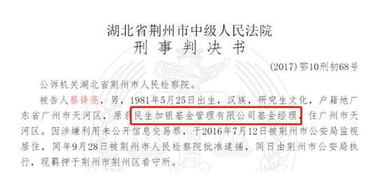 民生加银基金老鼠仓:蔡锋亮5年交易1.5亿获利775万