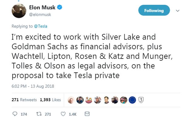 马斯克:与银湖资本及高盛合作推动特斯拉私有化