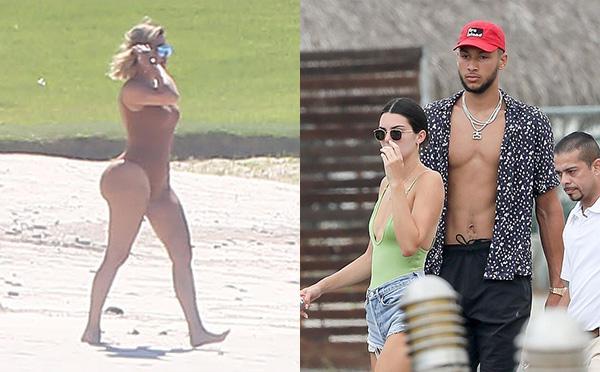卡戴珊姐妹携西蒙斯TT四人度假 戏水秀肥臀