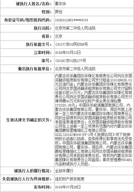 """昔日身家105亿 原内蒙古首富成""""老赖""""被限制消费"""