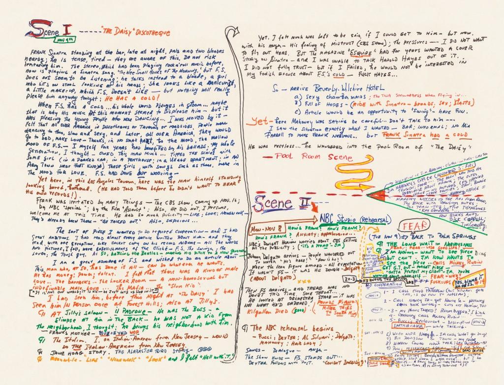 写《弗兰克·辛纳屈感冒了》一文时,盖伊·特立斯的手写草稿大纲