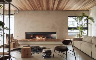 原木+ 水泥墙 ,一种自然朴实的生活方式