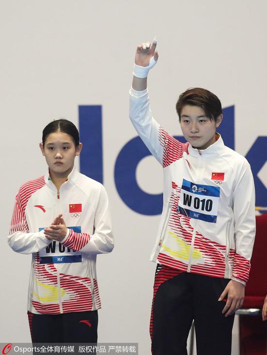 亚运跳水女子10米台 司雅杰夺冠中国包揽金银牌