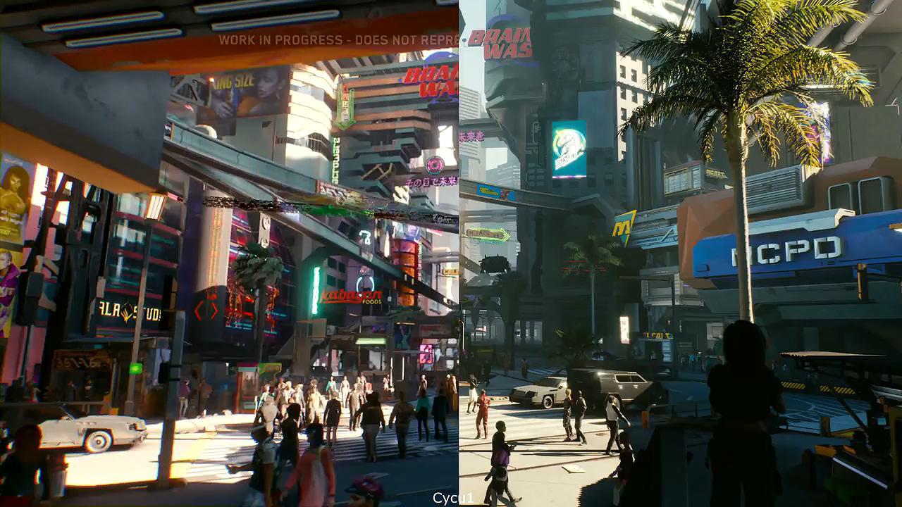 《赛博朋克2077》预告与实机画面对比 波兰蠢驴反向缩水?
