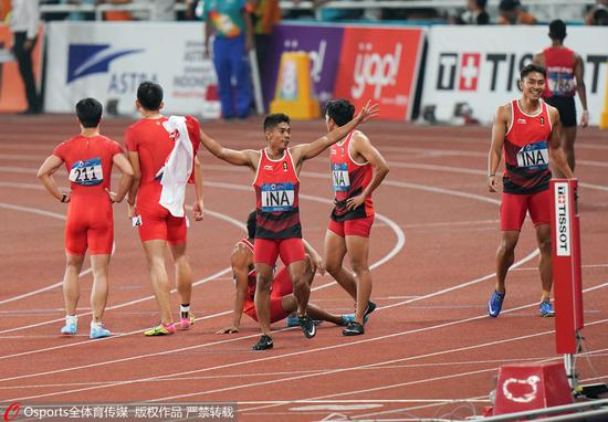 亚运男子4×100接力日本夺冠 中国摘铜无缘三连冠