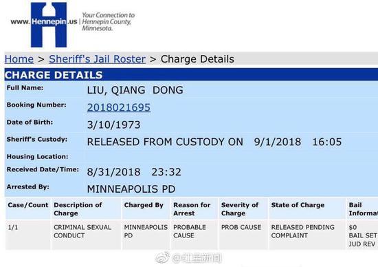 """美律师解读""""刘强东""""美国监狱记录"""