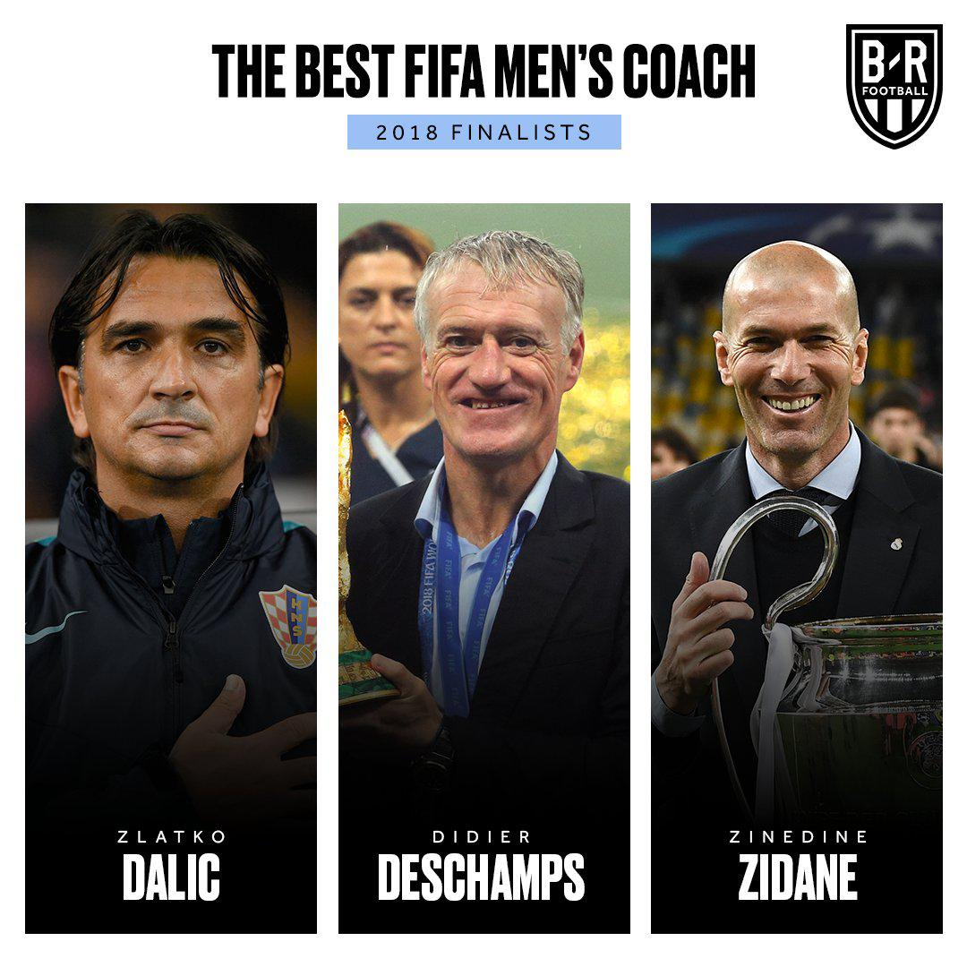 FIFA公布年度最佳主帅3大候选:齐达内德尚达里奇