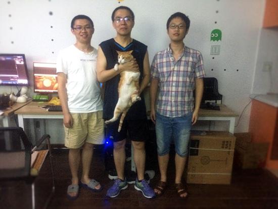 工作室核心成员(从左到右:麦俊鸿、刘轶凡、朱梦喆)