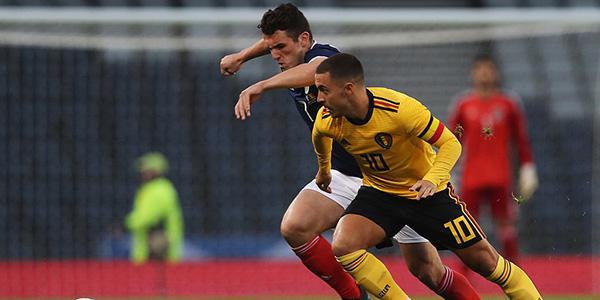 阿扎尔传射巴舒亚伊梅开二度 比利时4-0苏格兰