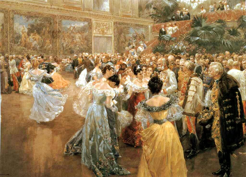 1900年,霍夫堡皇宫的一次舞会上,弗朗茨·约瑟夫皇帝被贵妇们簇拥