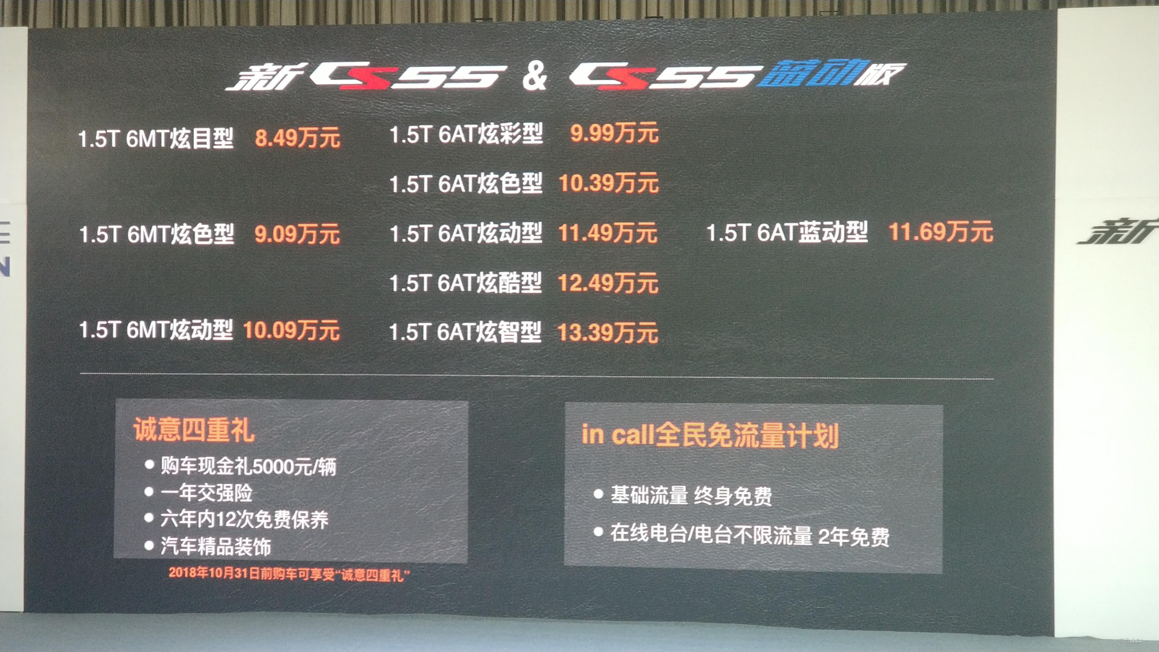 售8.49万起/含蓝动版 长安新款CS55上市