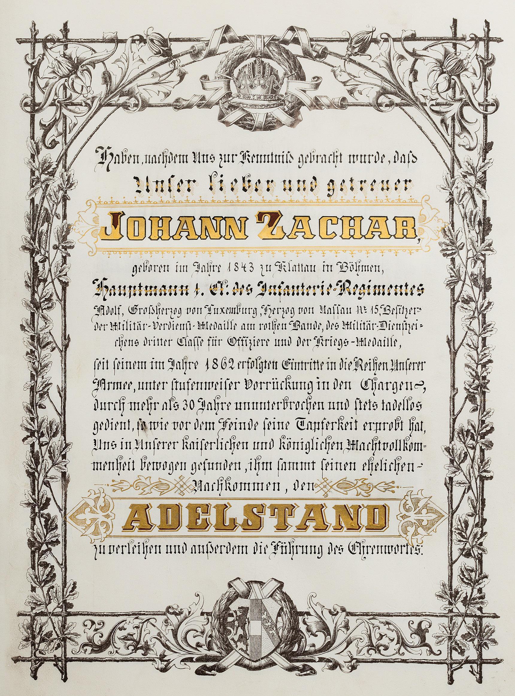 """1893年,一名上尉获得弗朗茨·约瑟夫皇帝的贵族封授,成为""""体制贵族"""""""