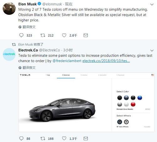 提高生产效率 特斯拉汽车可选配色将减少2种