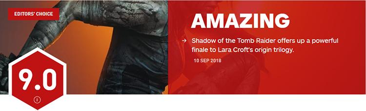 IGN给了《古墓丽影:暗影》9分,但并不具有参考性