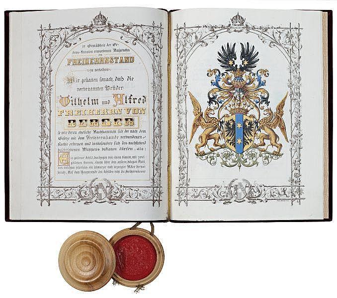 1878年,册封威廉和阿尔弗雷德·贝格尔兄弟为男爵的诏书