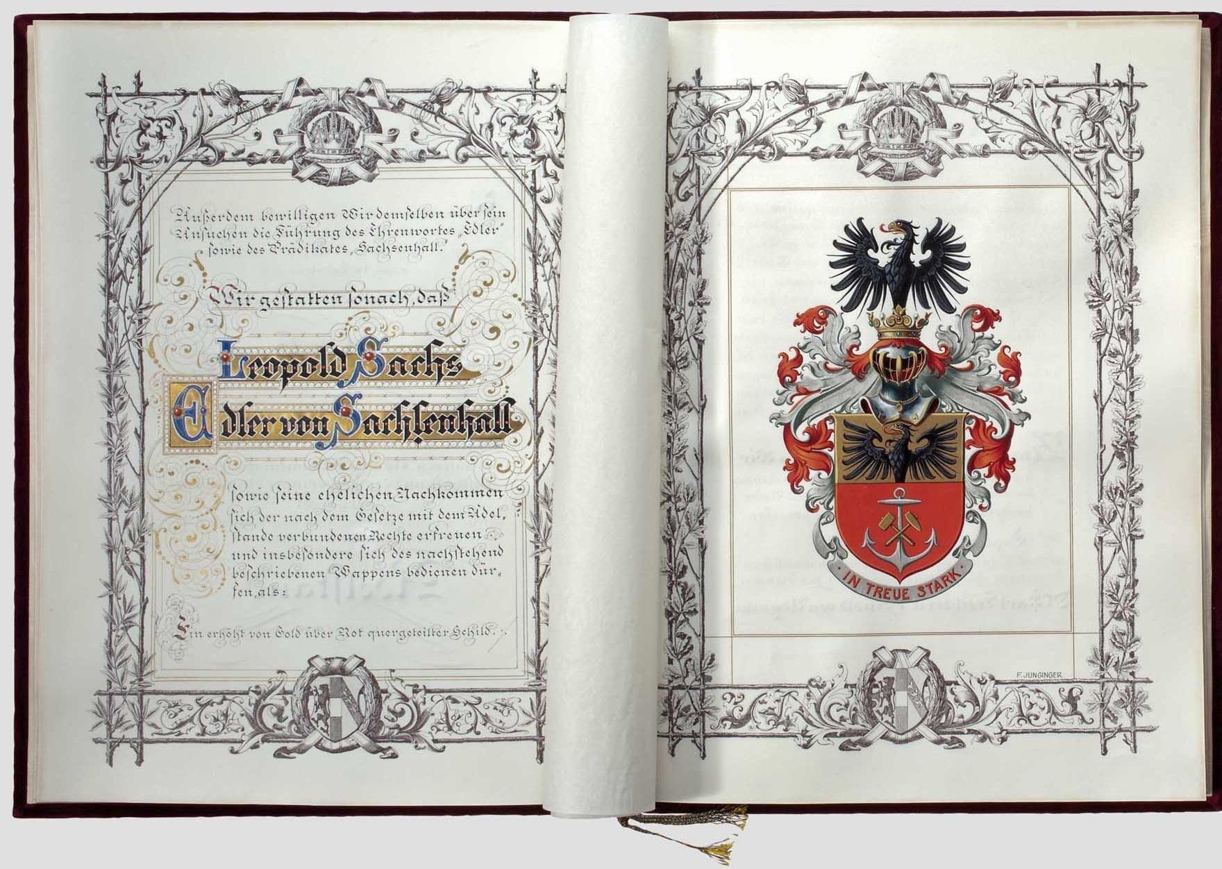 1912年,工业家萨克斯·冯·萨克森哈尔被弗朗茨·约瑟夫皇帝封为贵族