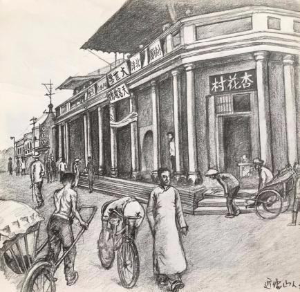 男子手绘老唐山街景 唤醒城市记忆