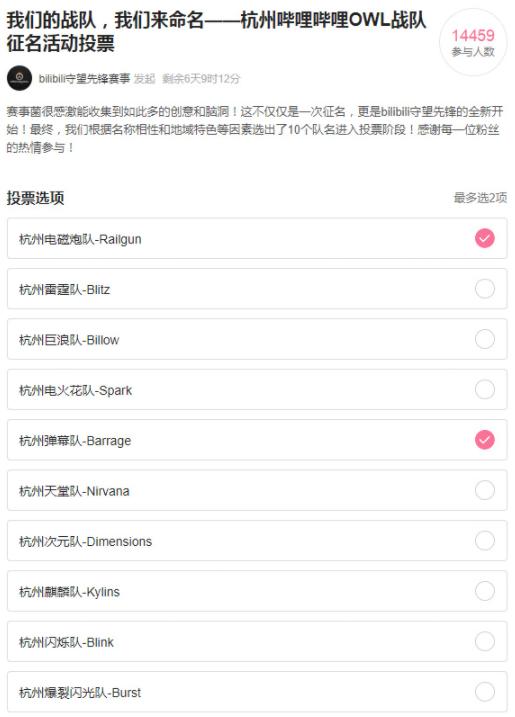 B站公开征集《守望先锋》战队名,网友:杭州凤之队