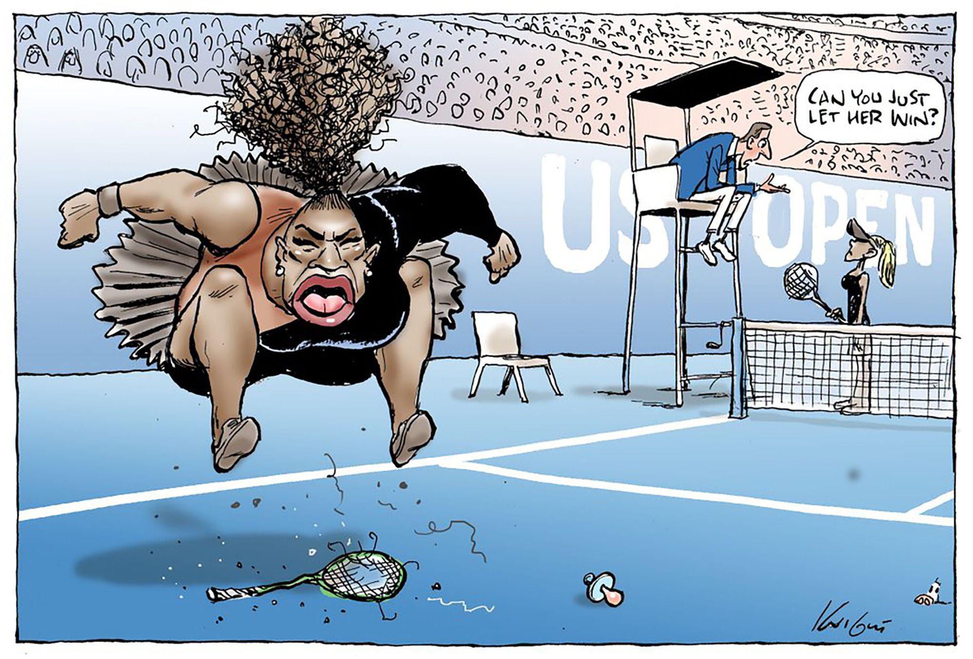 澳大利亚媒体把小威发怒画成了讽刺漫画。