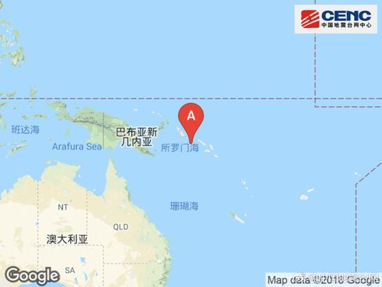 所罗门群岛附近发生6.0级左右地震