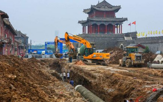 商丘古都城马道工程地下管网正在进行施工