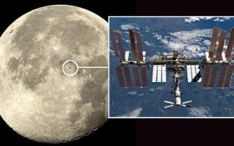 用相机就可以拍到划过月球的国际空间站
