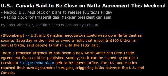 消息称新的北美自由贸易协定可能于近日公布