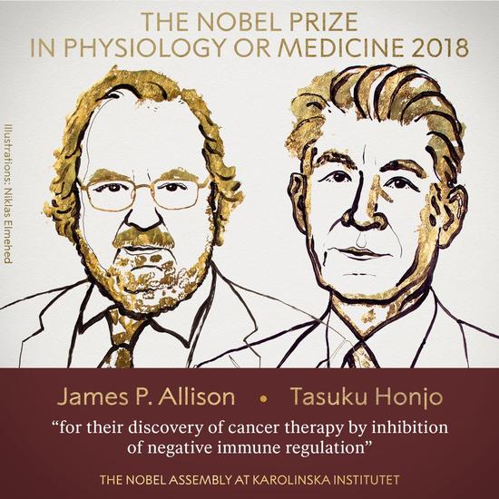 诺贝尔生理学或医学奖揭晓 艾利森和本庶佑获奖