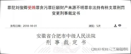 前安徽第一贪刘俊卿昨获减刑 曾喝酒高兴就放枪
