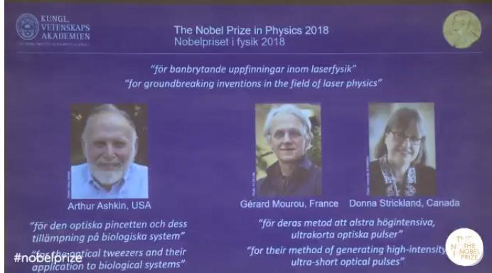 诺贝尔物理学奖公布:为Ashikin、Mourou和Strickand
