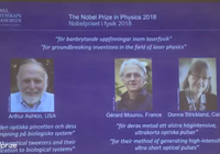 美法加三位科学家获得2018年诺贝尔物理学奖