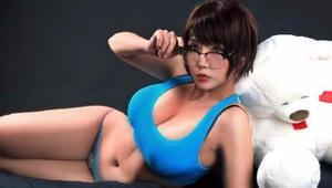 亚裔美女COS《守望先锋》小美 清凉泳装大胸肌太迷人