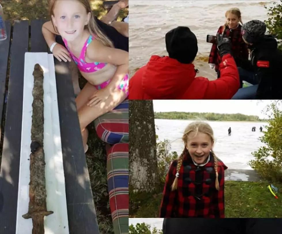 """""""女王""""出现!8岁小女孩从瑞典湖中发现一把千年古剑"""