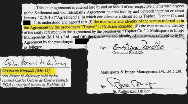 C罗曾与性侵案女主签署秘密协议 承认女方连续喊不