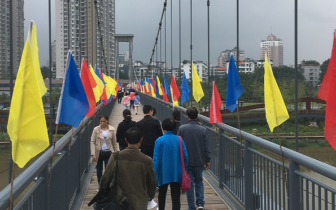 自贡东兴寺索桥正式向市民开放密集拉索蔚为壮观