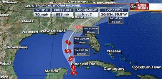 热带风暴迈克尔增强为飓风 10日将登陆佛罗里达