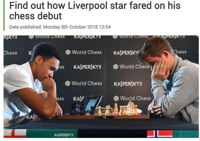 阿诺德挑战国际象棋冠军,仅下17步就宣告失利