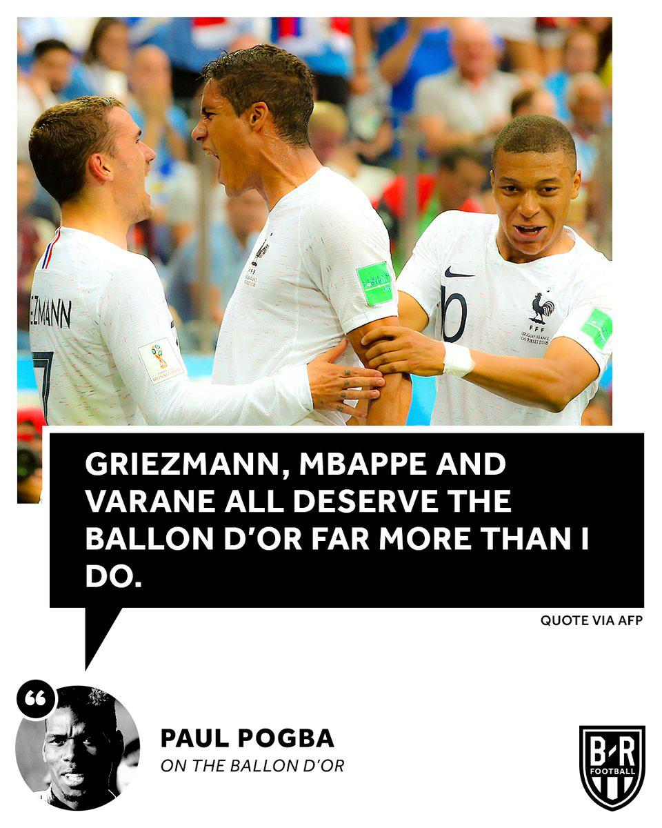 博格巴:我配不上金球奖 法国队友们比我更有资格