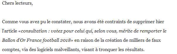 《法国足球》因恶意刷票现象发表声明