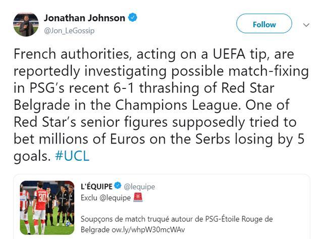 ESPN记者:红星高层涉嫌在与巴黎的欧冠中赌球