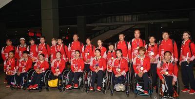 河北省19名亞殘運會運動員載譽歸來