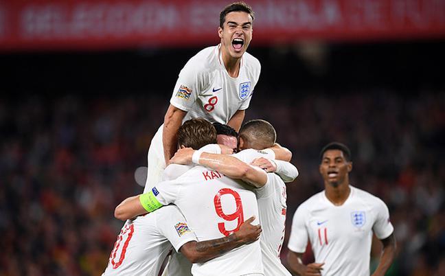 欧国联-英格兰3-2西班牙 斯特林2球