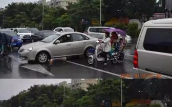 机动车|早上7点半工业西实况:家长带小孩与机动车抢道