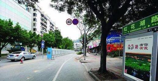 重阳节红花湖景区周边设置多个临时停车区,部分路口单向通行