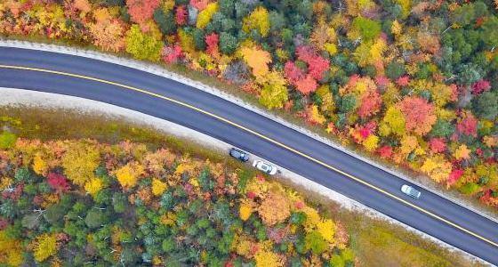 航拍美国盘山公路秋色 如油彩画廊
