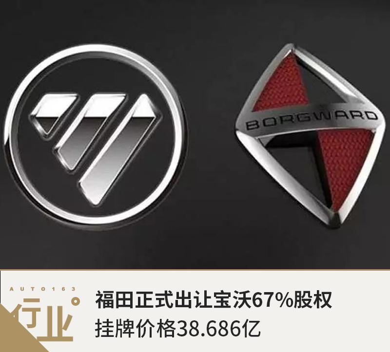福田正式出让宝沃67%股权 挂牌价格38.686亿