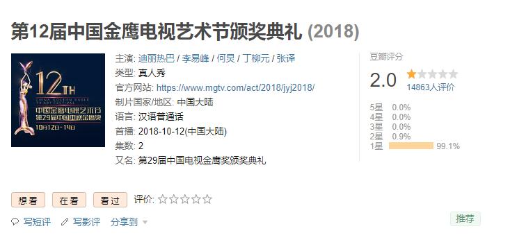 第 12届金鹰节评分只有 2.  0! 98% 网友怒打一星