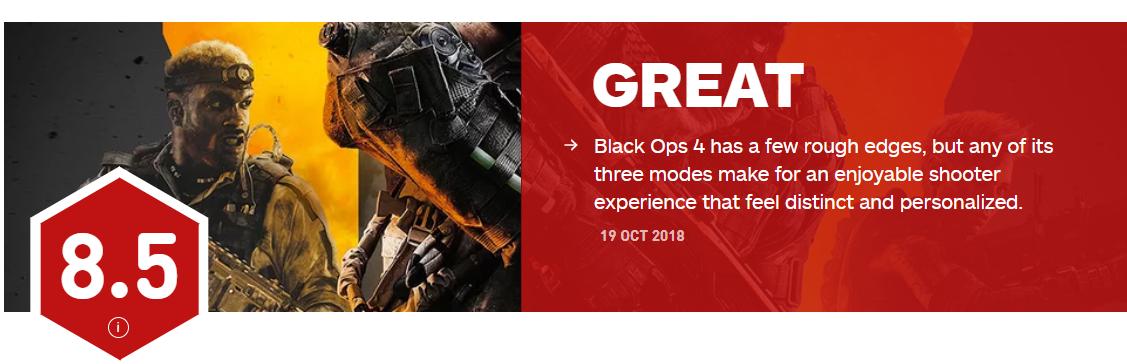 《使命召唤15》IGN最终评分8.5分 大逃杀模式最令人兴奋