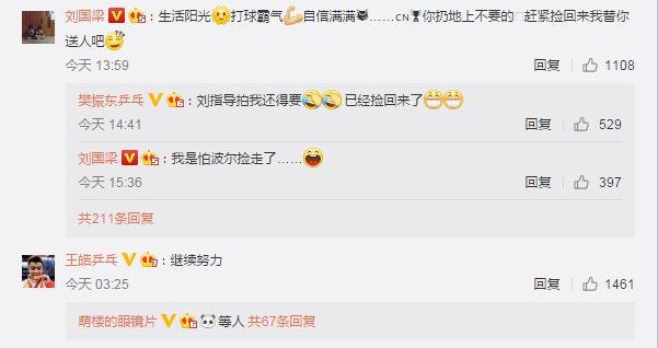 刘国梁微博开怼樊振东: 球拍捡回来我替你送人