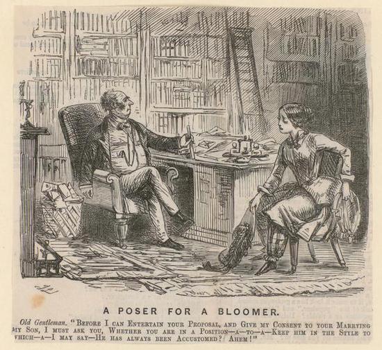 """1852年的讽刺漫画,一位穿""""灯笼裤""""的女士要求未婚夫的父亲把儿子嫁给她,以此来说明穿灯笼裤就不是女人/wikipedia"""